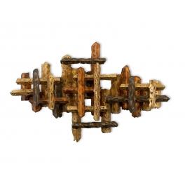 Tableau sculpture Bouclier de feu, Acier inoxydable doré