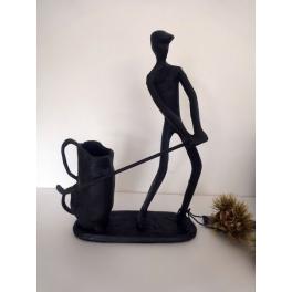 Sculpture golfeur, Métal marron