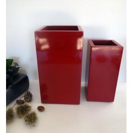 Set de 2 caches pots rouges