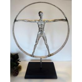 Statue homme de Vitruve design, Résine argent