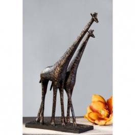 Statue Girafe couple, Résine marron doré