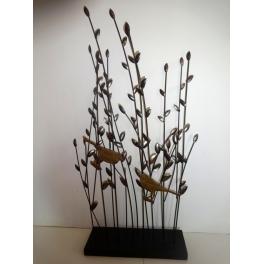 Sculpture Oiseaux sur socle, Métal