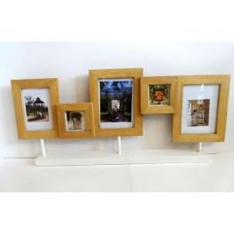 Porte photos x 5 en bois clair