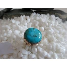 Bague Turquoise ronde, Argent et ornementation