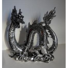 Statue Dragon, résine argenté