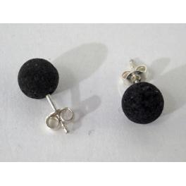 Boucle d'oreilles boule, Lave noire