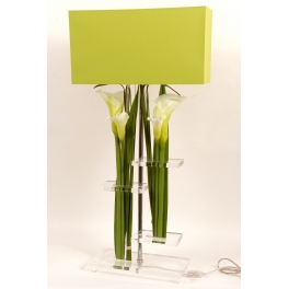 Lampe artistique fleurie verte