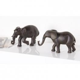 Sculpture Eléphants, Résine marron