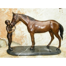 Cheval et sa jeune cavalière, Bronze