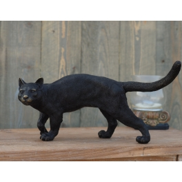 Chat noir en mouvement, Bronze