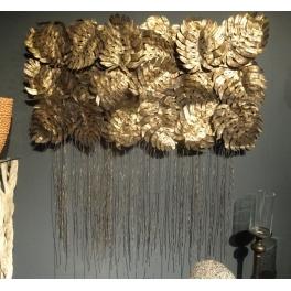 Décoration murale Feuilles, Métal doré