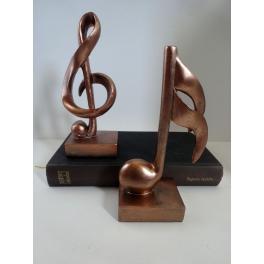 Clef de sol et Note de Musique, Résine cuivré (2)
