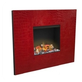 Cheminée à vapeur d'eau et son cadre cuir rouge (chauffante)