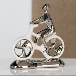 Statue cycliste design, Céramique argenté