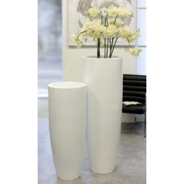 Bac à fleurs conique blanc