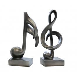 Clef de sol et Note de Musique, Résine argenté (2)