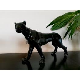 Sculpture Léopard debout, Porcelaine noire