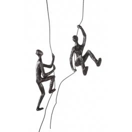 Sculpture 2 Grimpeurs à corde, Résine argentée