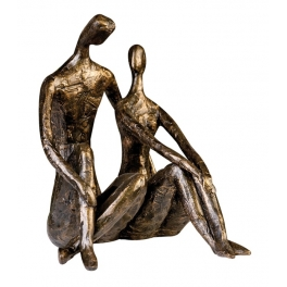 Couple assis doré statue, Résine doré