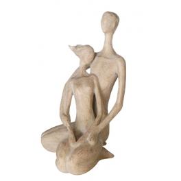 Statue Couple assis, Résine marron claire