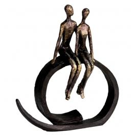 Statue d'un couple assis sur socle, Résine doré