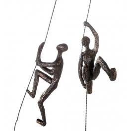 Sculpture 2 Grimpeurs à corde, Résine doré