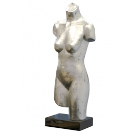 Sculpture buste la Femme nue, Résine argent