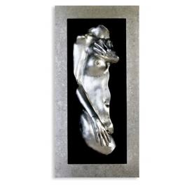 Tableau Femme relief, Plaque de verre et Résine argent