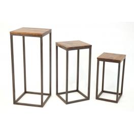 ARQITECTURE / BOIS / Métal / Sellettes par 3 / Décoration / Maison