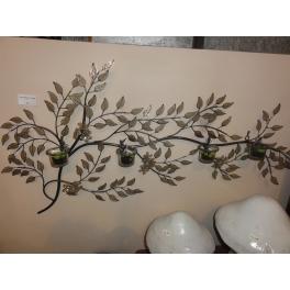 Tableau mural branches et feuilles, Métal