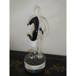 Sculpture footballeur, Verre noir et blanc